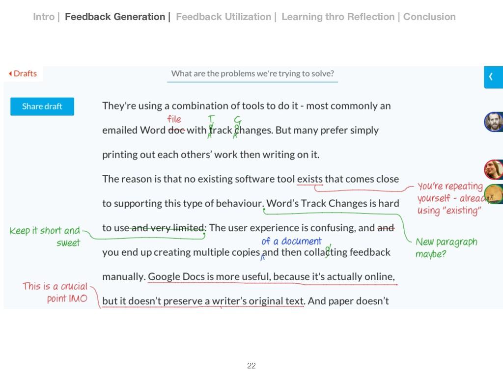 Intro | Feedback Generation | Feedback Utilizat...
