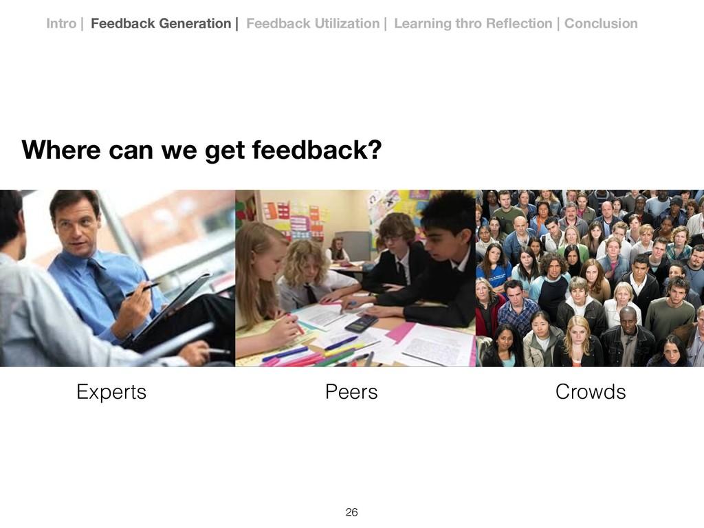 Experts Peers Crowds Where can we get feedback?...