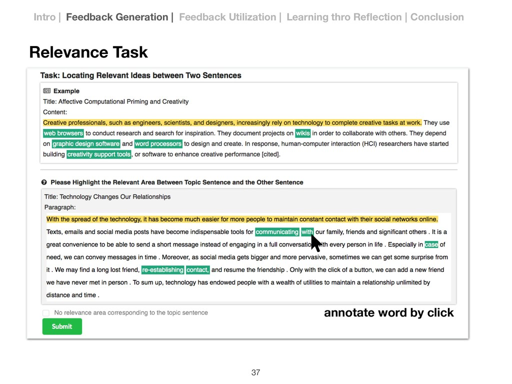 Relevance Task annotate word by click !37 Intro...