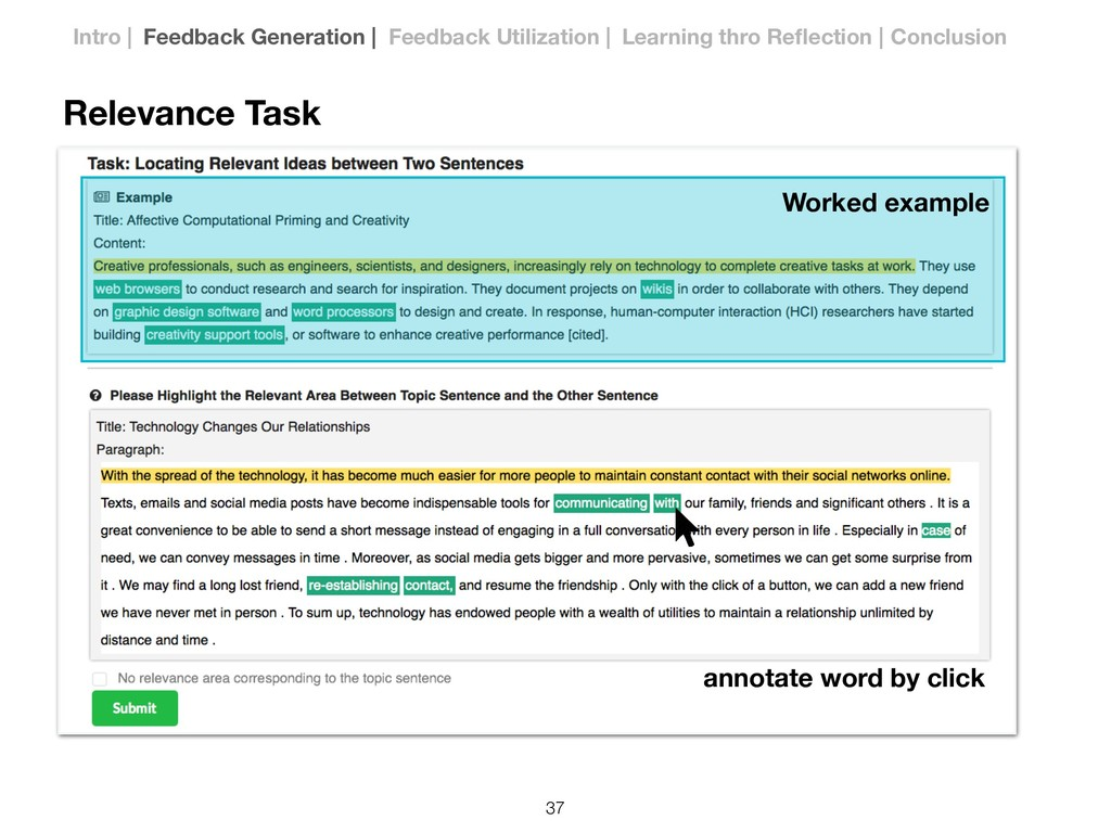 Relevance Task Worked example annotate word by ...