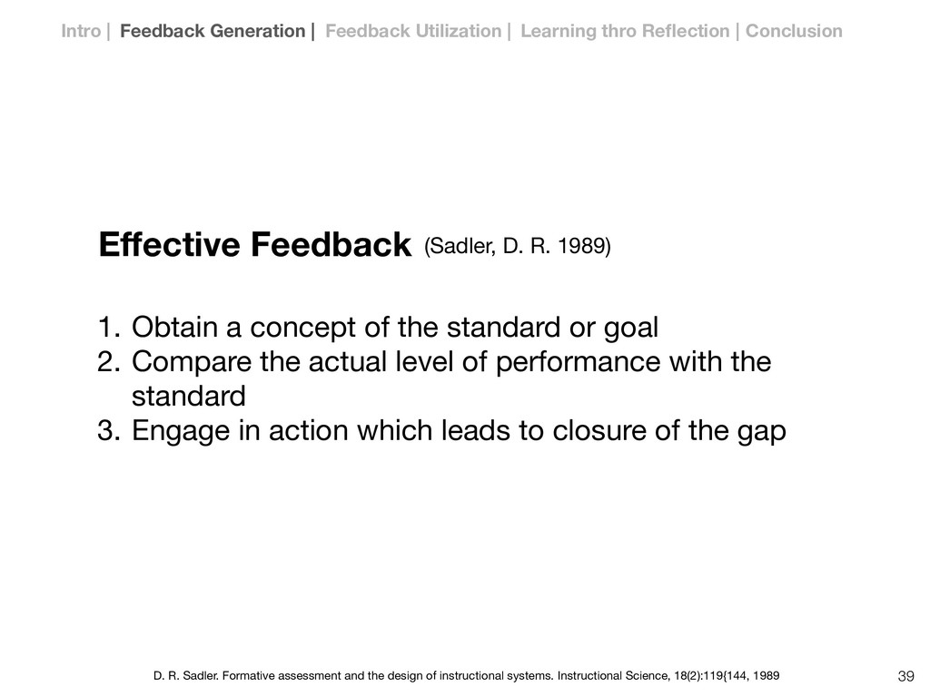 Effective Feedback 1. Obtain a concept of the st...