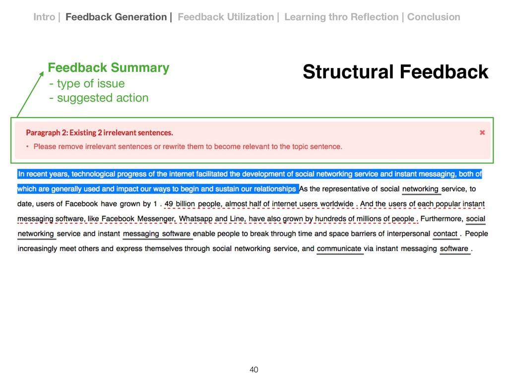 Structural Feedback Feedback Summary - type of ...