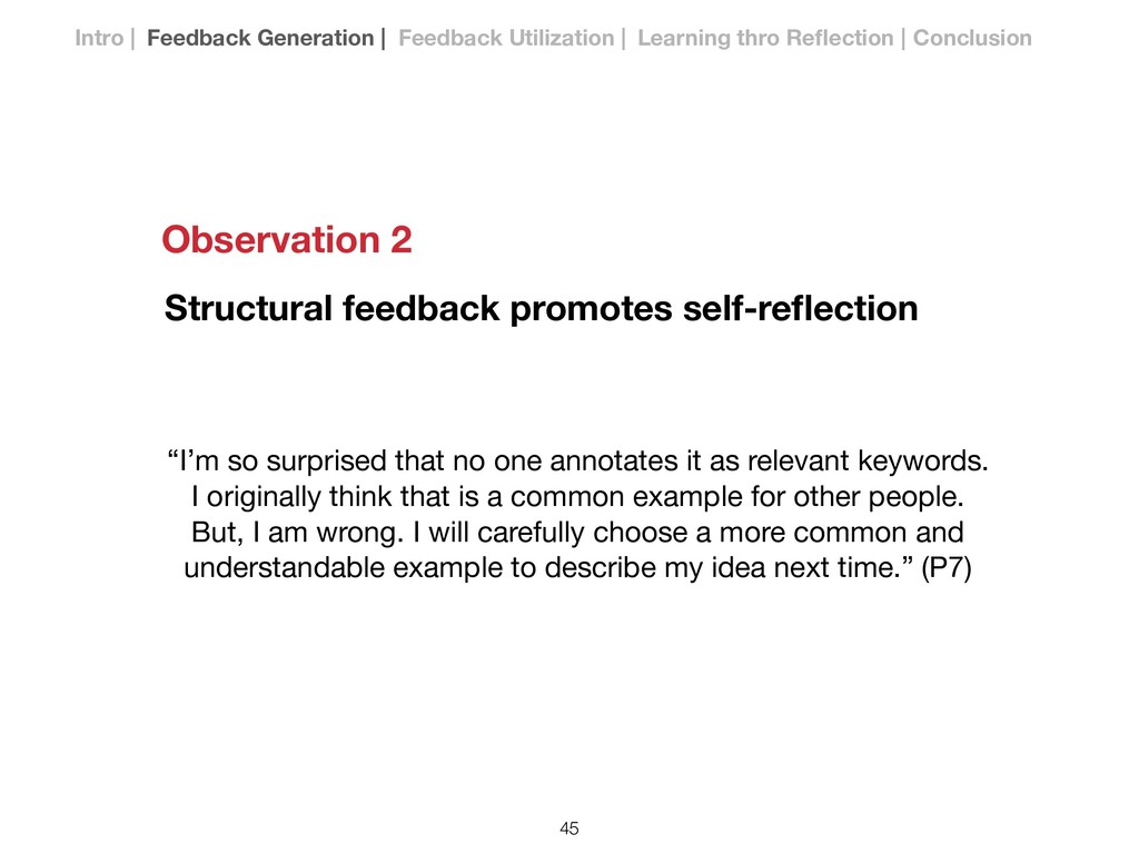 """Structural feedback promotes self-reflection """"I'..."""
