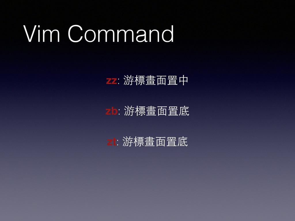Vim Command zz: 游標畫⾯面置中 zb: 游標畫⾯面置底 zt: 游標畫⾯面置底
