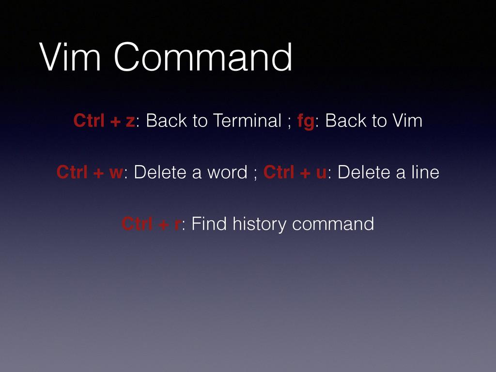 Vim Command Ctrl + z: Back to Terminal ; fg: Ba...