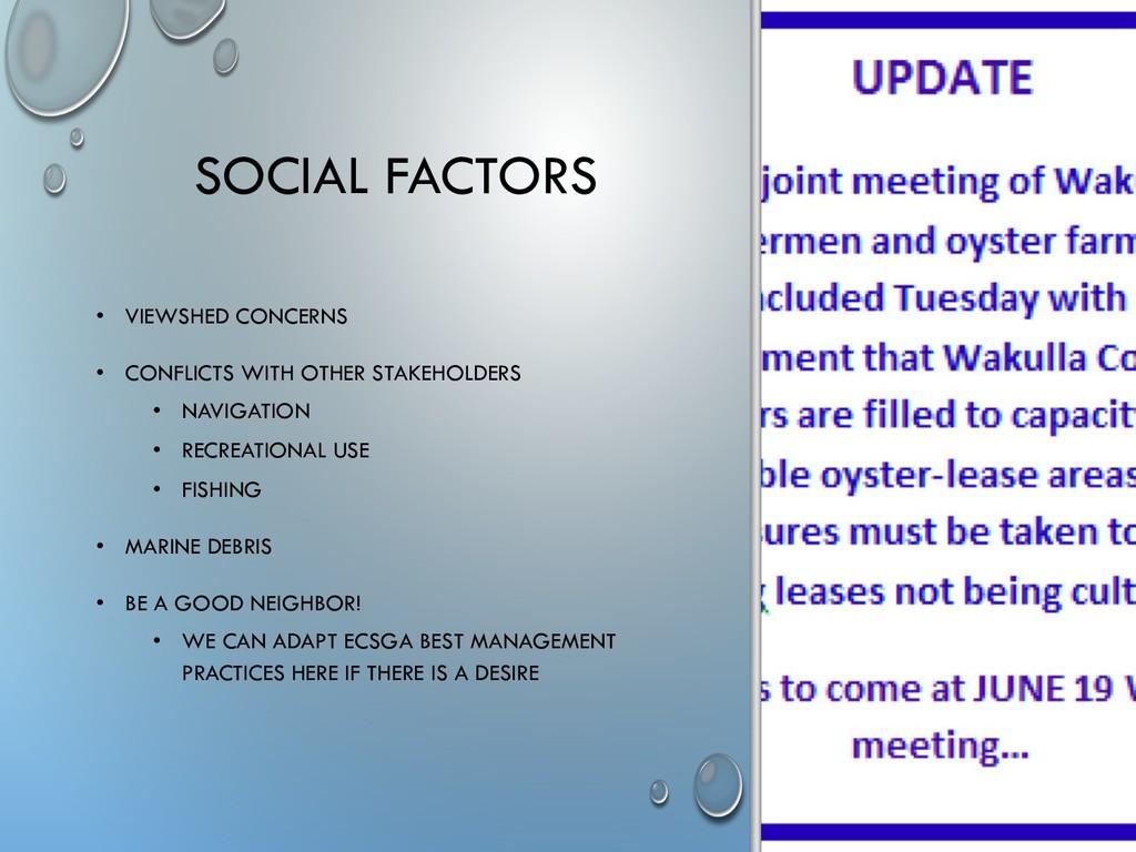 SOCIAL FACTORS • VIEWSHED CONCERNS • CONFLICTS ...