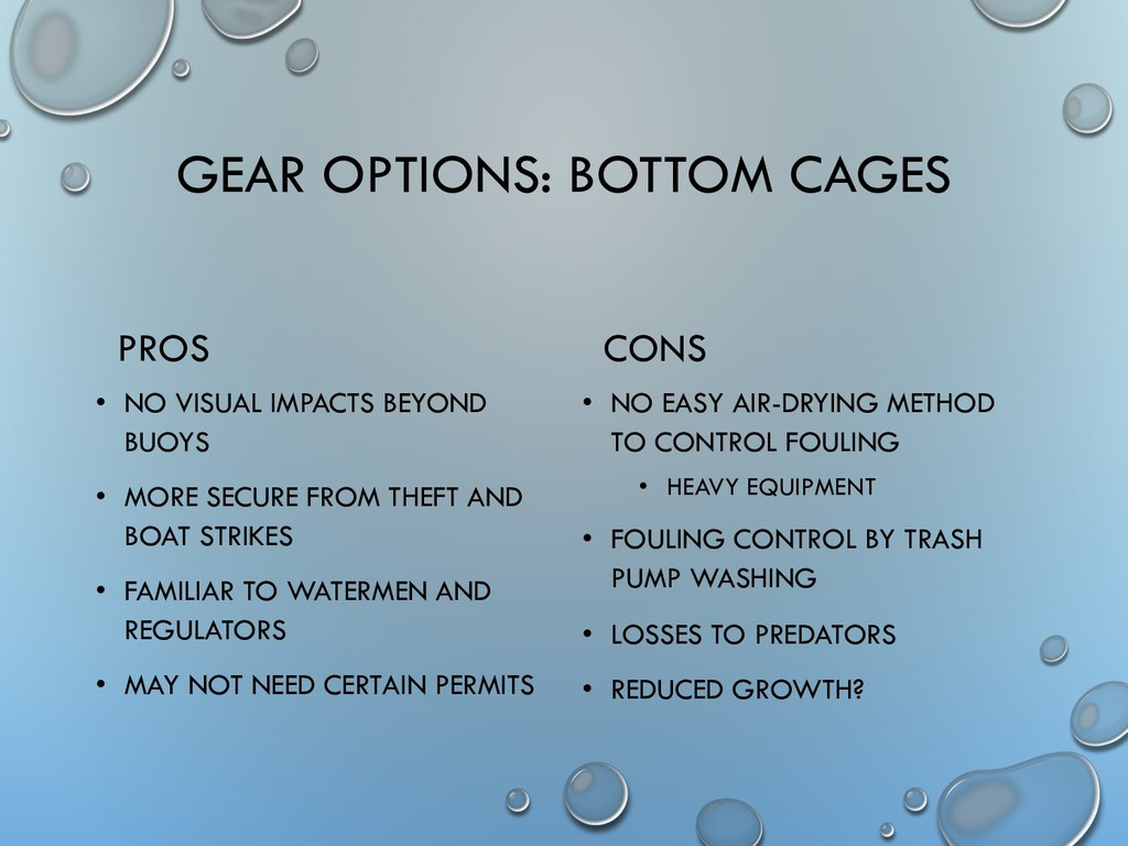 GEAR OPTIONS: BOTTOM CAGES PROS • NO VISUAL IMP...