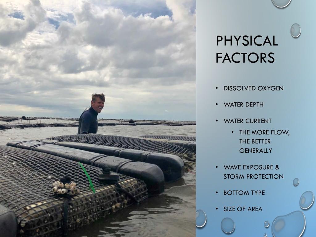 PHYSICAL FACTORS • DISSOLVED OXYGEN • WATER DEP...