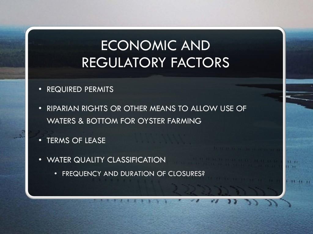 ECONOMIC AND REGULATORY FACTORS • REQUIRED PERM...