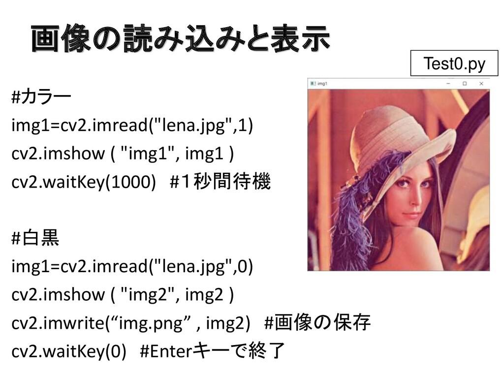 """画像の読み込みと表示 #カラー img1=cv2.imread(""""lena.jpg"""",1) c..."""