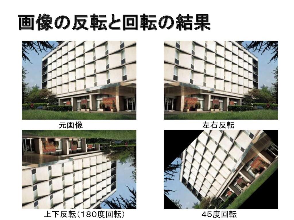 画像の反転と回転の結果 元画像 左右反転 上下反転(180度回転) 45度回転