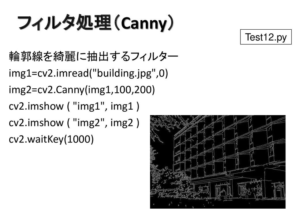 フィルタ処理(Canny) 輪郭線を綺麗に抽出するフィルター img1=cv2.imread(...