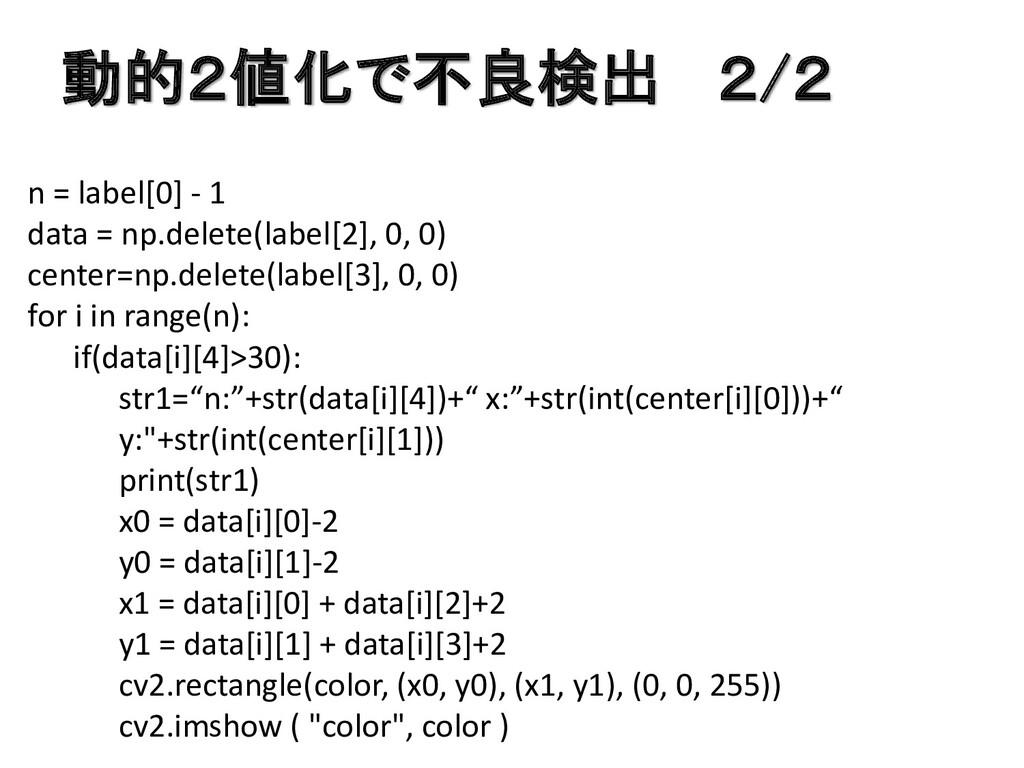 動的2値化で不良検出 2/2 n = label[0] - 1 data = np.delet...