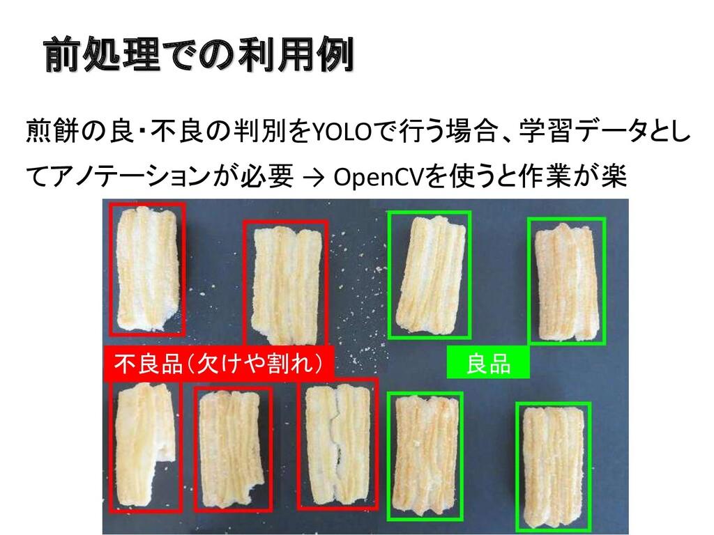 前処理での利用例 煎餅の良・不良の判別をYOLOで行う場合、学習データとし てアノテーションが...