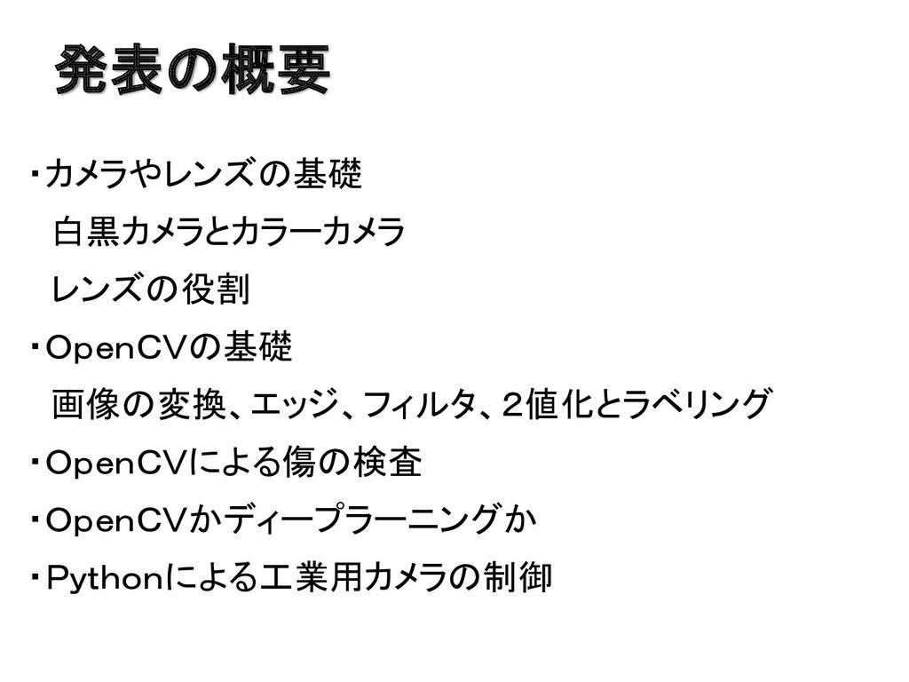 発表の概要 ・カメラやレンズの基礎 白黒カメラとカラーカメラ レンズの役割 ・OpenCVの基...