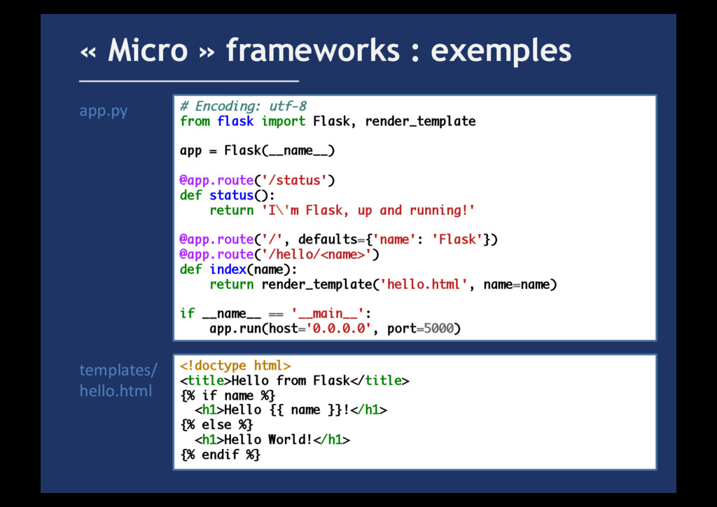 « Micro » frameworks : exemples # Encoding: utf...