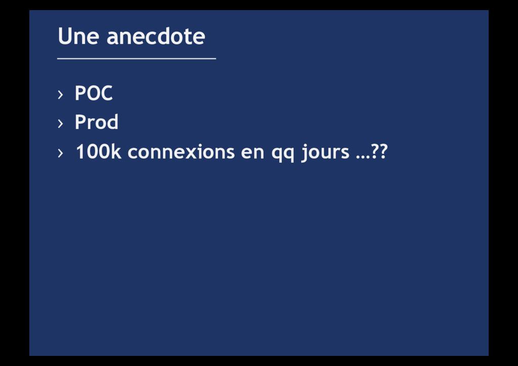 › POC › Prod › 100k connexions en qq jours …...
