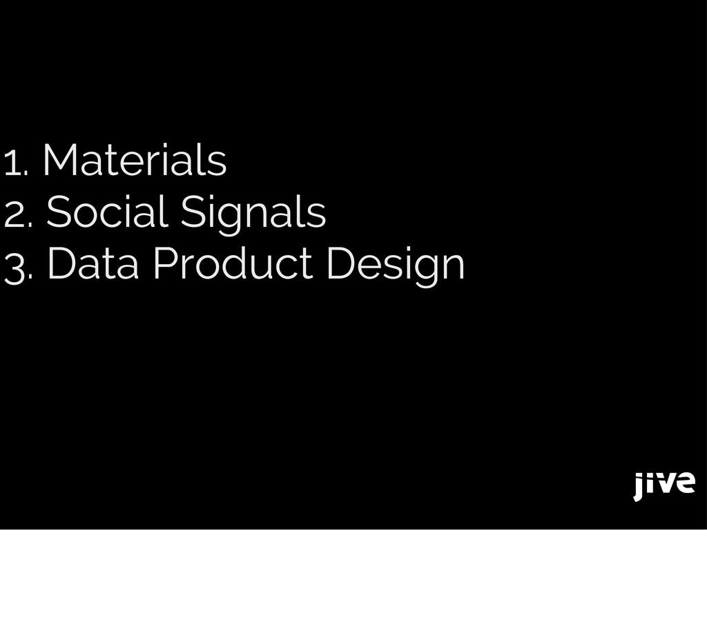 1. Materials 2. Social Signals 3. Data Product ...