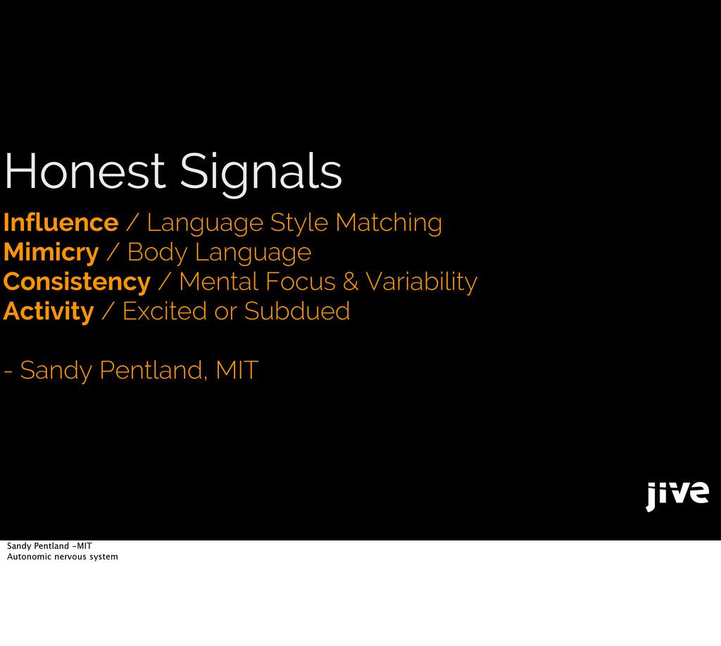 Honest Signals Influence / Language Style Match...