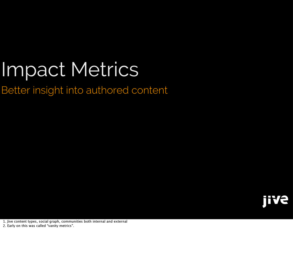 Impact Metrics Better insight into authored con...
