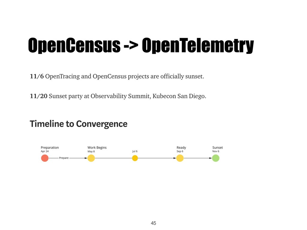 45 OpenCensus -> OpenTelemetry