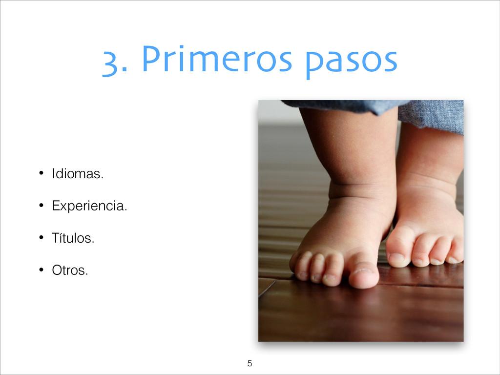 3. Primeros pasos • Idiomas. • Experiencia. • T...