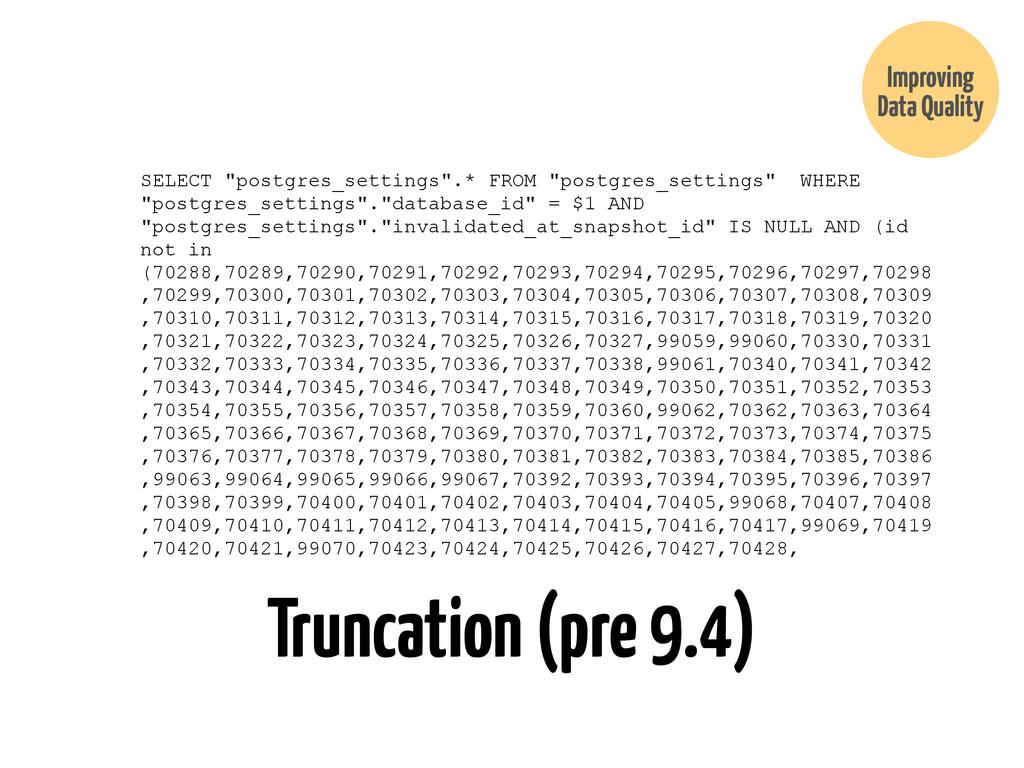 """Truncation (pre 9.4) SELECT """"postgres_settings""""..."""