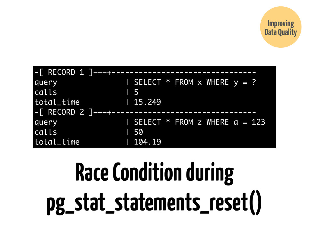 Improving Data Quality Race Condition during pg...