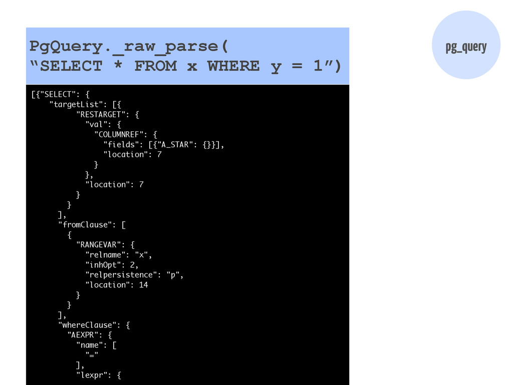 "pg_query PgQuery._raw_parse( ""SELECT * FROM x W..."