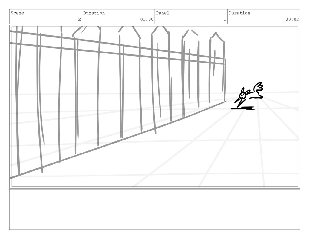 Scene 2 Duration 01:00 Panel 1 Duration 00:02