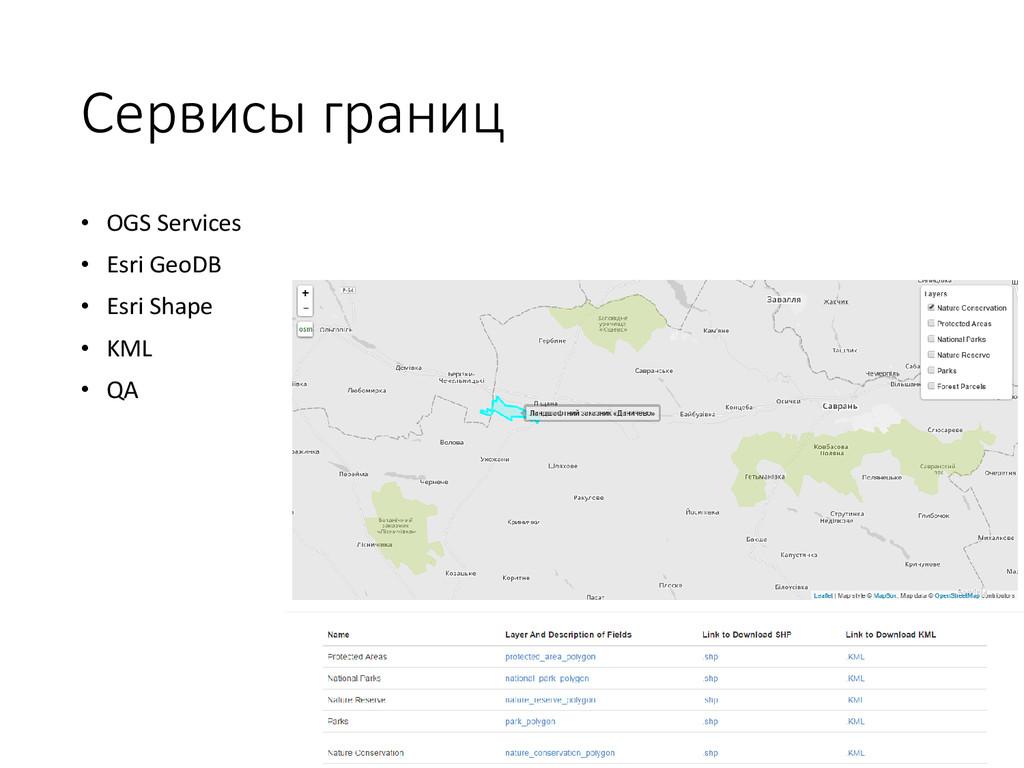 Сервисы границ • OGS Services • Esri GeoDB • Es...