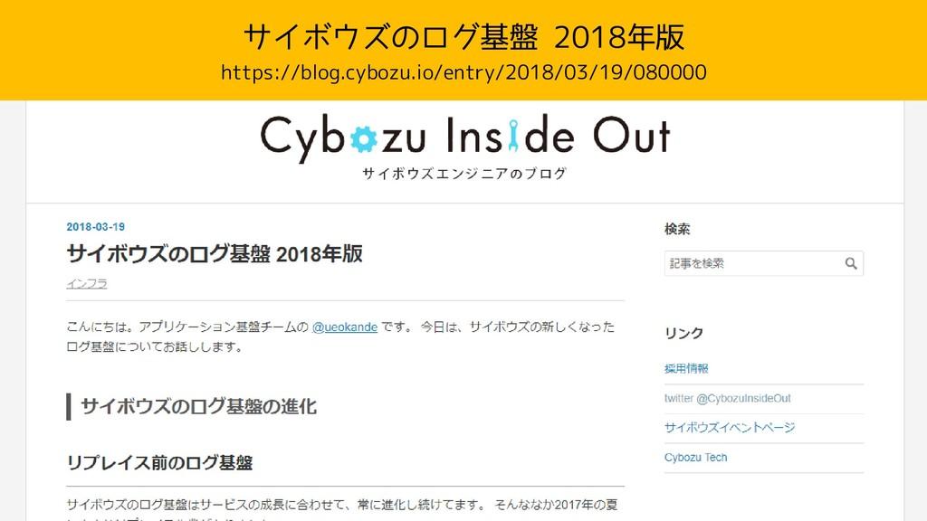 サイボウズのログ基盤 2018年版 https://blog.cybozu.io/entry/...