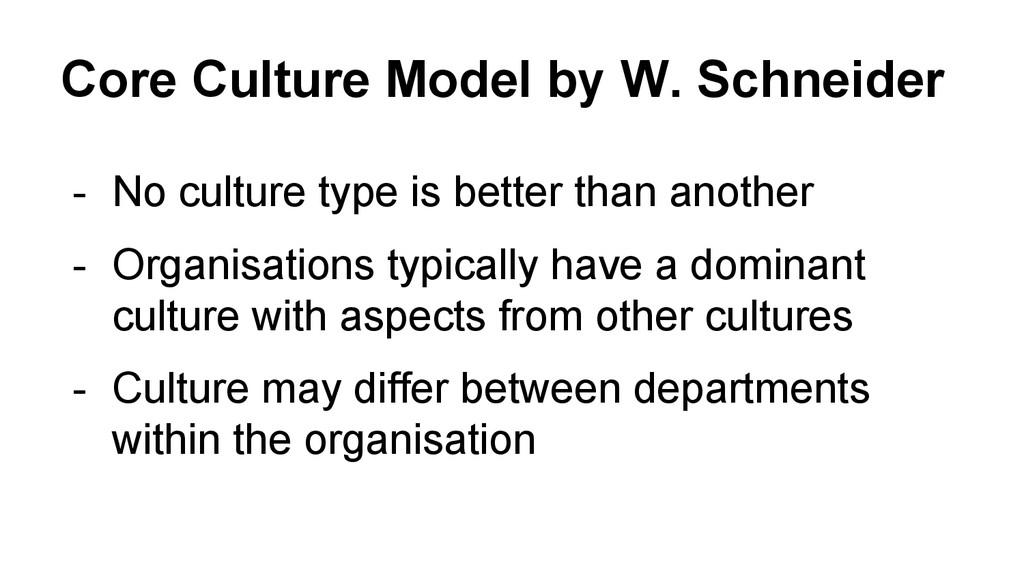 Core Culture Model by W. Schneider - No culture...