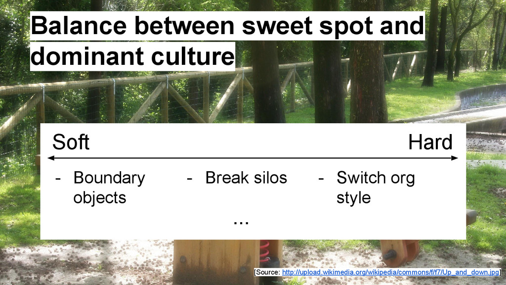Balance between sweet spot and dominant culture...