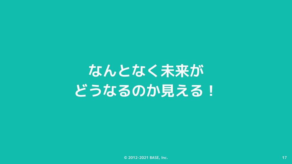 17 © 2012-2021 BASE, Inc. 17 なんとなく未来が どうなるのか見える!