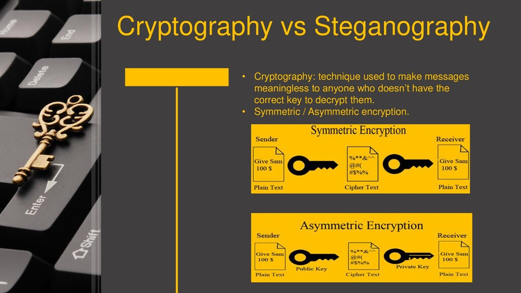 Cryptography vs Steganography • Cryptography: t...