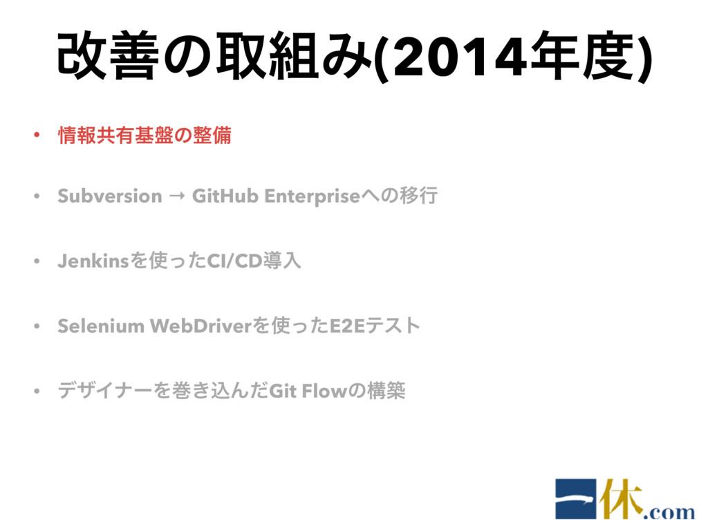 վળͷऔΈ(2014) • ใڞ༗ج൫ͷඋ • Subversion → GitHu...