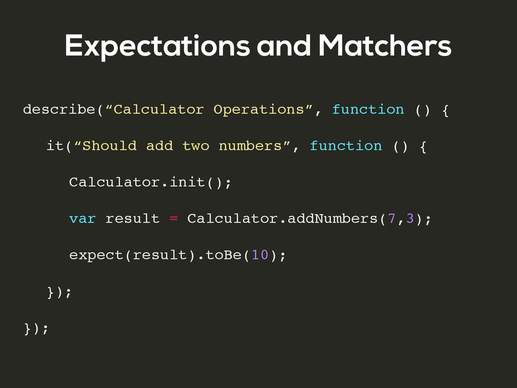 """Expectations and Matchers describe(""""Calculator ..."""