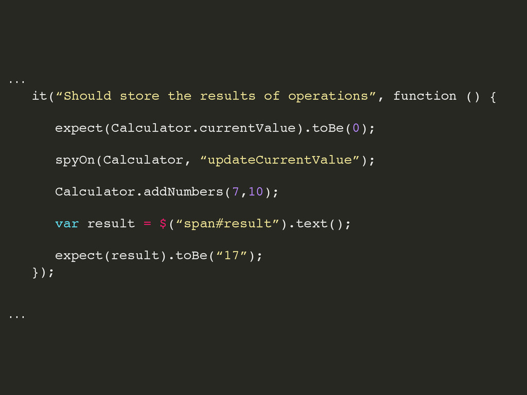 """… ! it(""""Should store the results of operations""""..."""