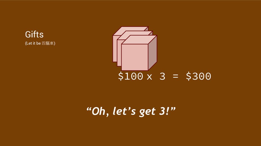 """Gifts (Let it be 四驅車) $100 """"Oh, let's get 3!"""" x..."""