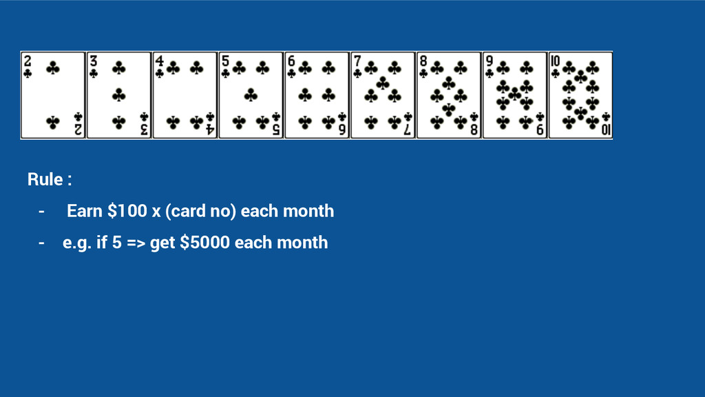 Rule : - Earn $100 x (card no) each month - e.g...