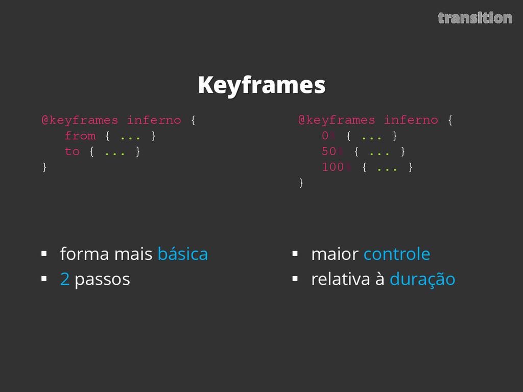 Keyframes transition @keyframes inferno { from ...