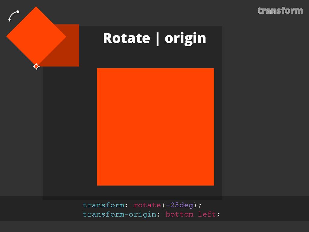 transform Rotate | origin transform: rotate(-25...