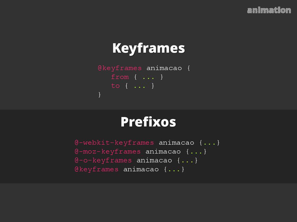 Prefixos Keyframes animation @-webkit-keyframes...