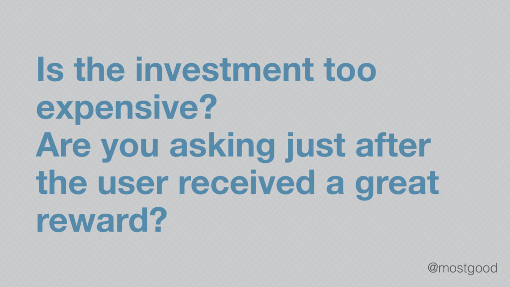@mostgood Is the investment too expensive? Are ...