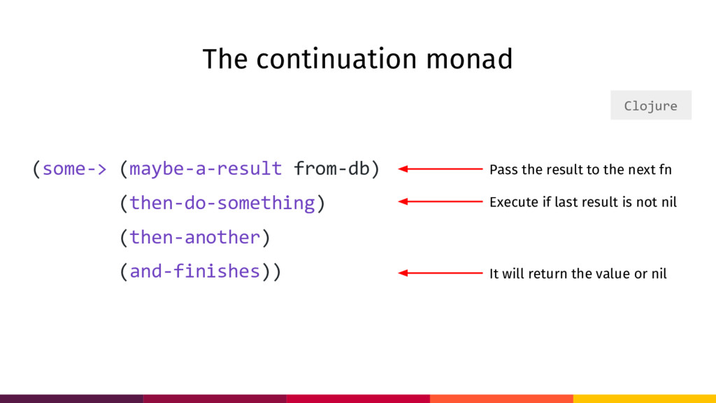 The continuation monad (some-> (maybe-a-result ...
