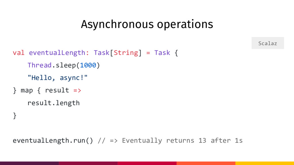 Asynchronous operations val eventualLength: Tas...