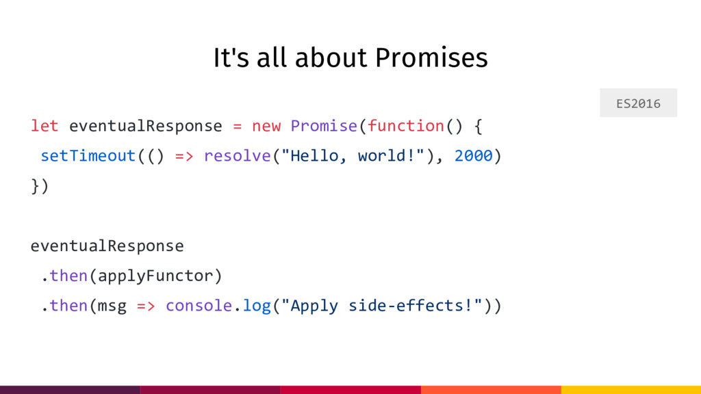 It's all about Promises let eventualResponse = ...