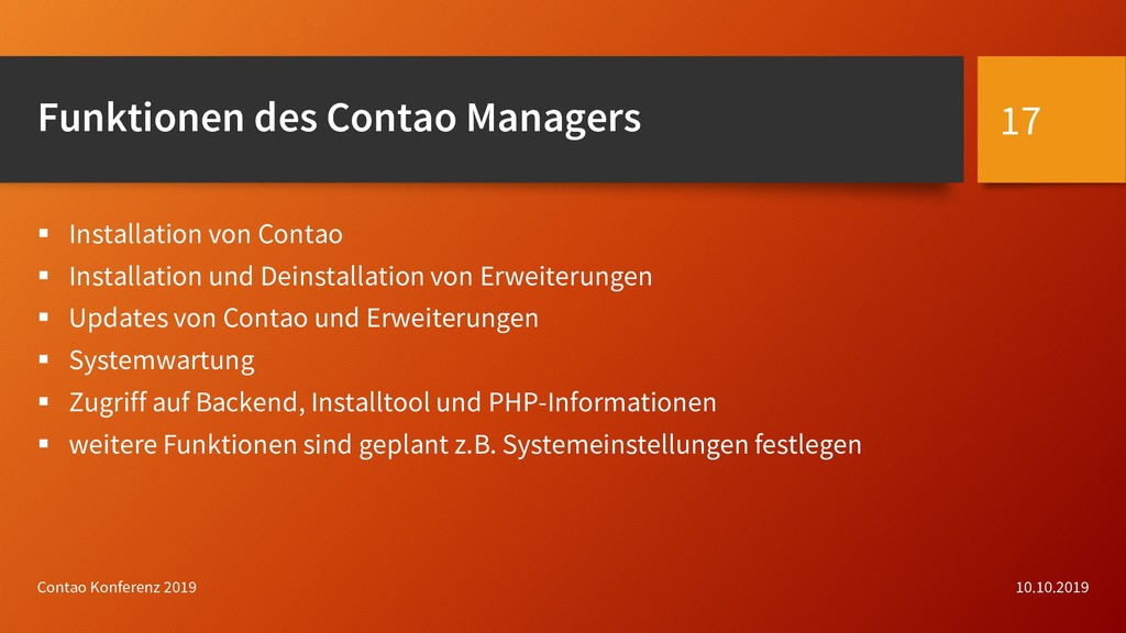 Funktionen des Contao Managers  Installation v...