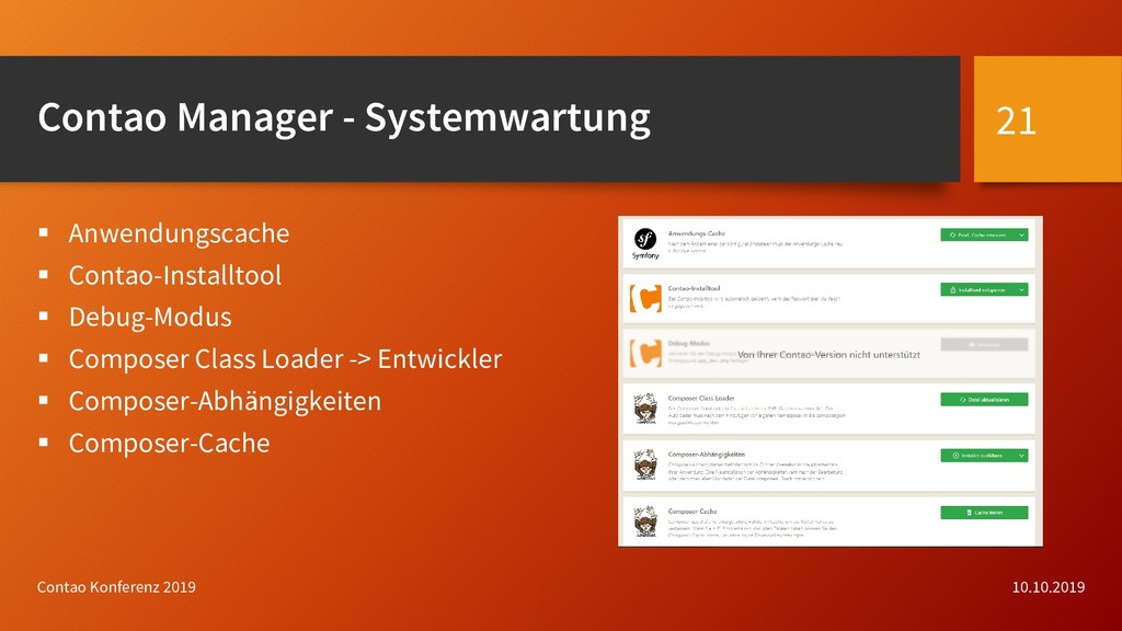 Contao Manager - Systemwartung  Anwendungscach...